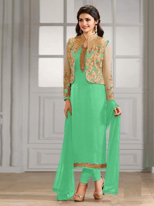 Pretty Green Georgette Semi-Sttiched Anarkali Suit