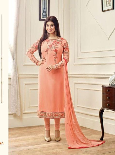 Peach Color Georgette Straight Suit
