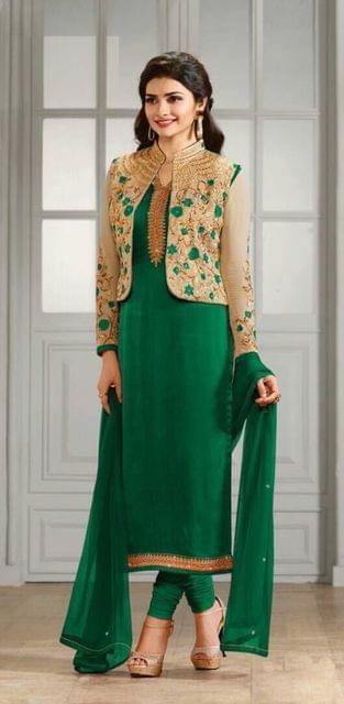 Pretty Dark Green Georgette Semi-Sttiched Anarkali Suit
