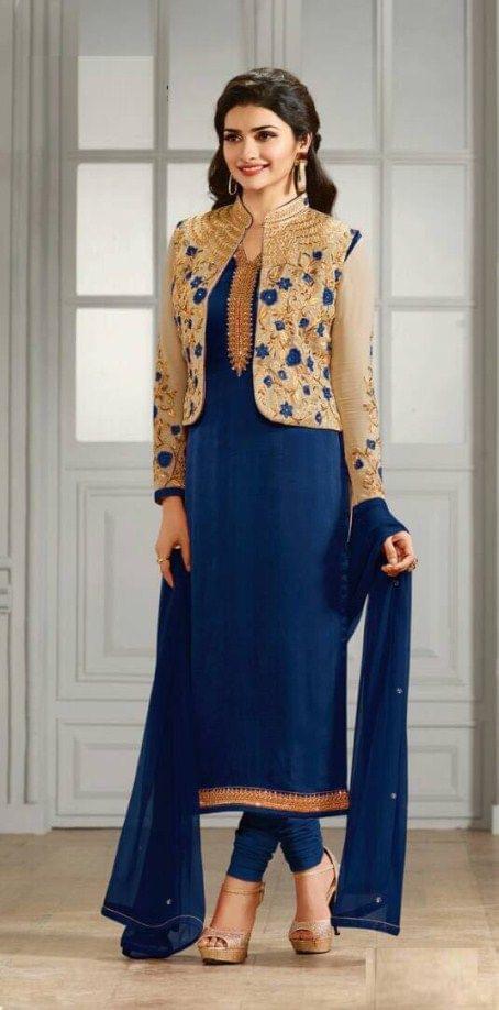 Fabulous Navy Blue Color Embroidered Anarkali Salwar Suit