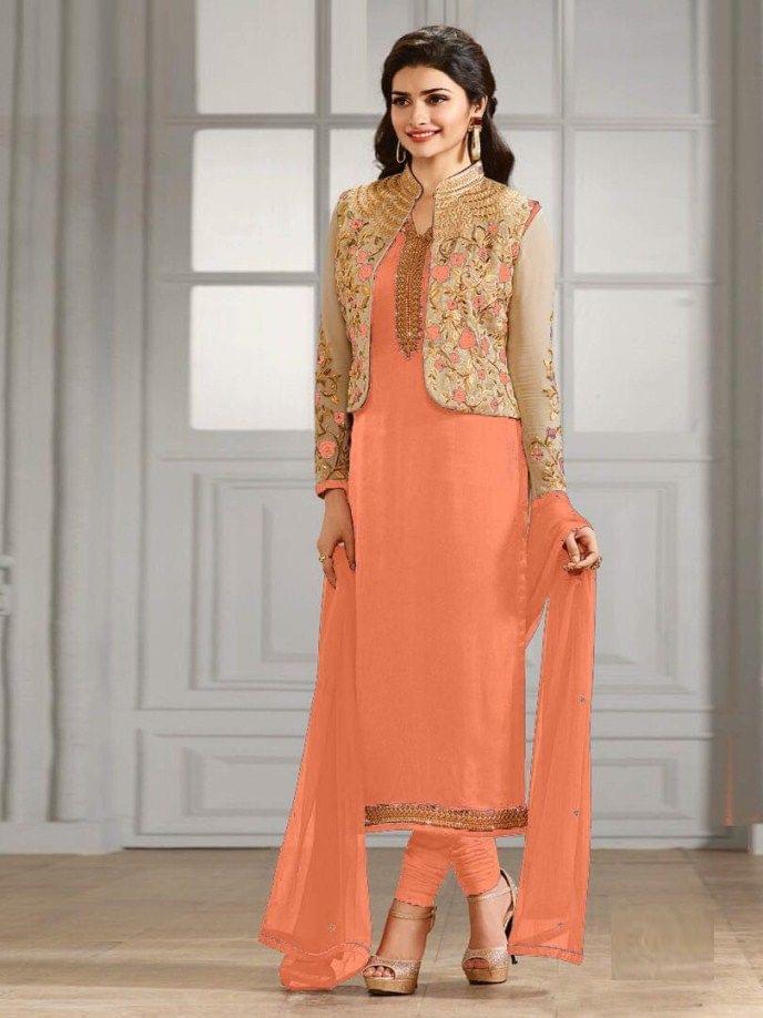 Pretty Orange Color Georgette Embroidered Anarkali Suit