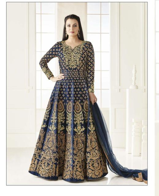 Pretty Designer Blue Color  Embroidered Work AnarkaliTaffeta Suit