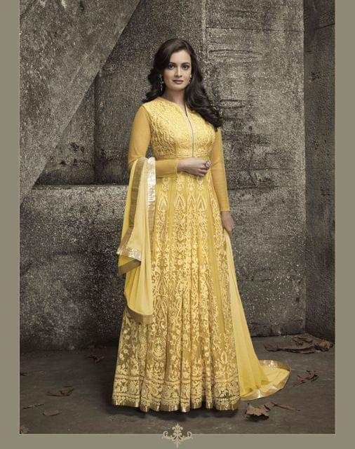 Elegant Yellow ColorNet  Embroidered Desginer Suit