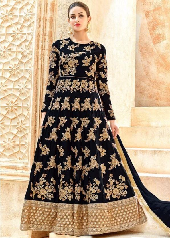 Stunning Black Heavy Embroidered Anarkali Suit
