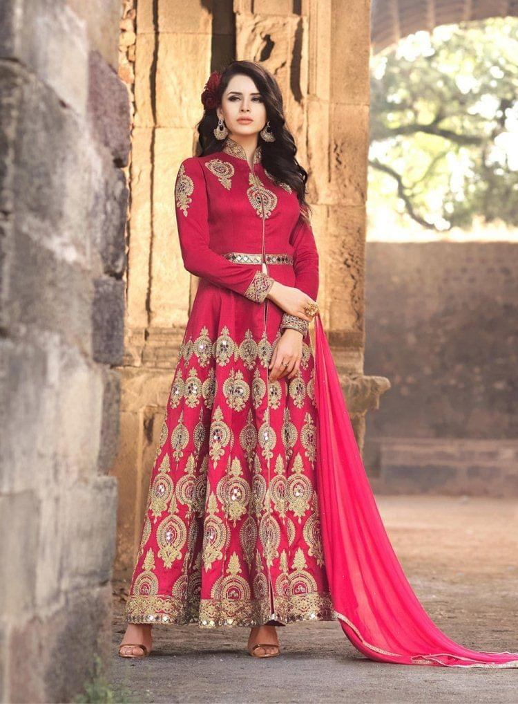 Fabulous Red Color Designer Banarsi Silk Party Anarkali Suit