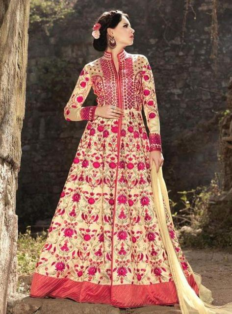 Decorous Beige Colour Designer Banarsi Silk Anarkali Salwar Suit