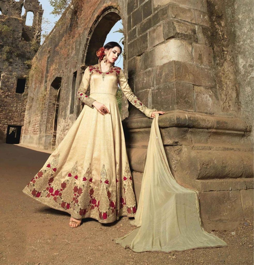 Desinger Cream Colour Silk  Pakistani Anarkali Salwar Suit
