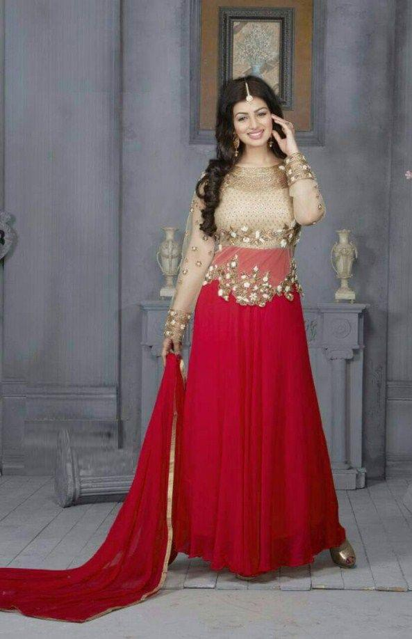 Glourious Designe  Red Color  Embroidered Georgette Anarkali Suit