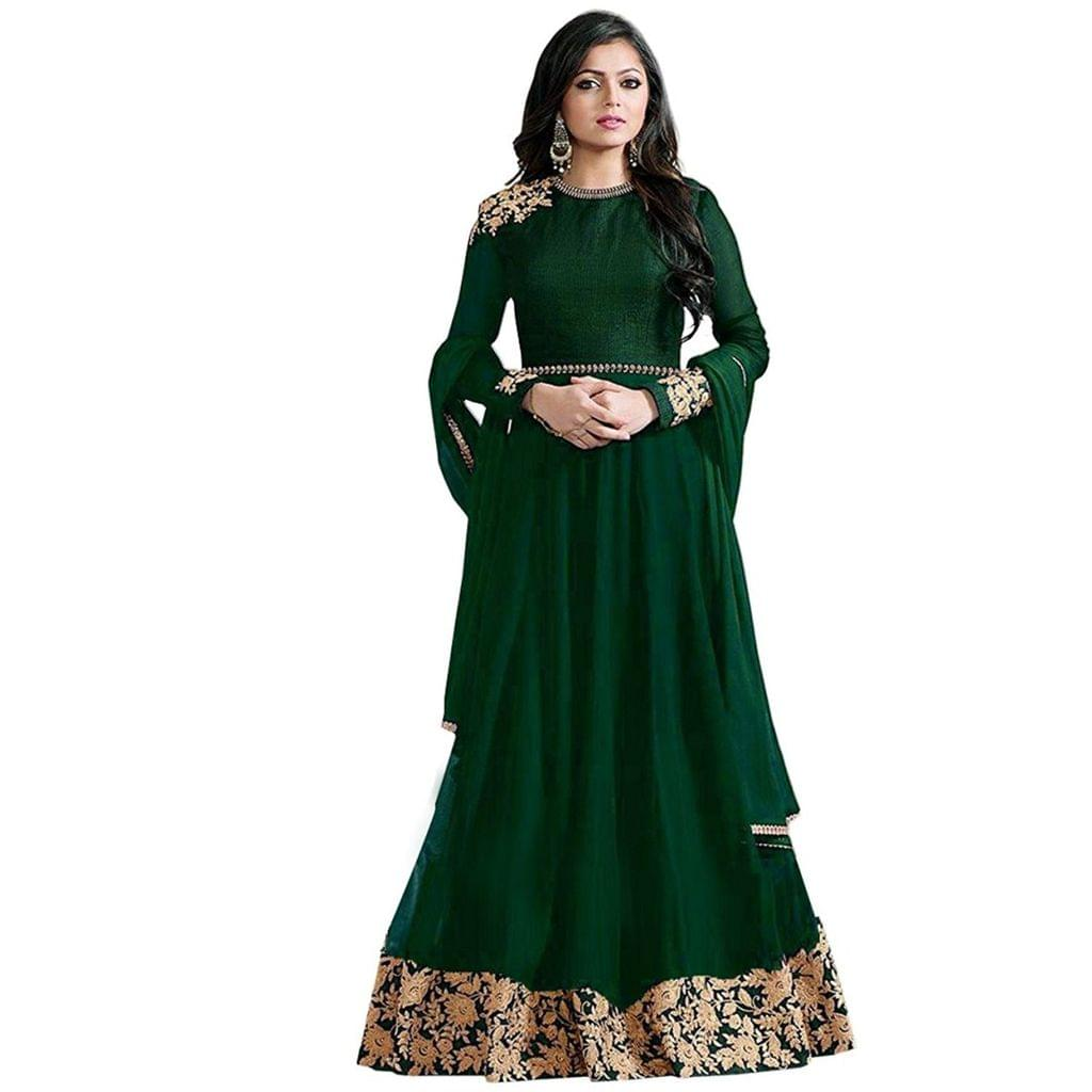 Embroidery Designs Green Color Latest Anarkali Suit