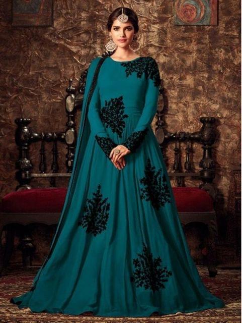 Desinger Blue Colour Georgette  Anarkali Salwar Suit