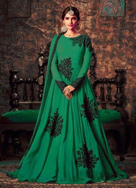 Charismatic Green Colour Heavy Work Anarkali Suit