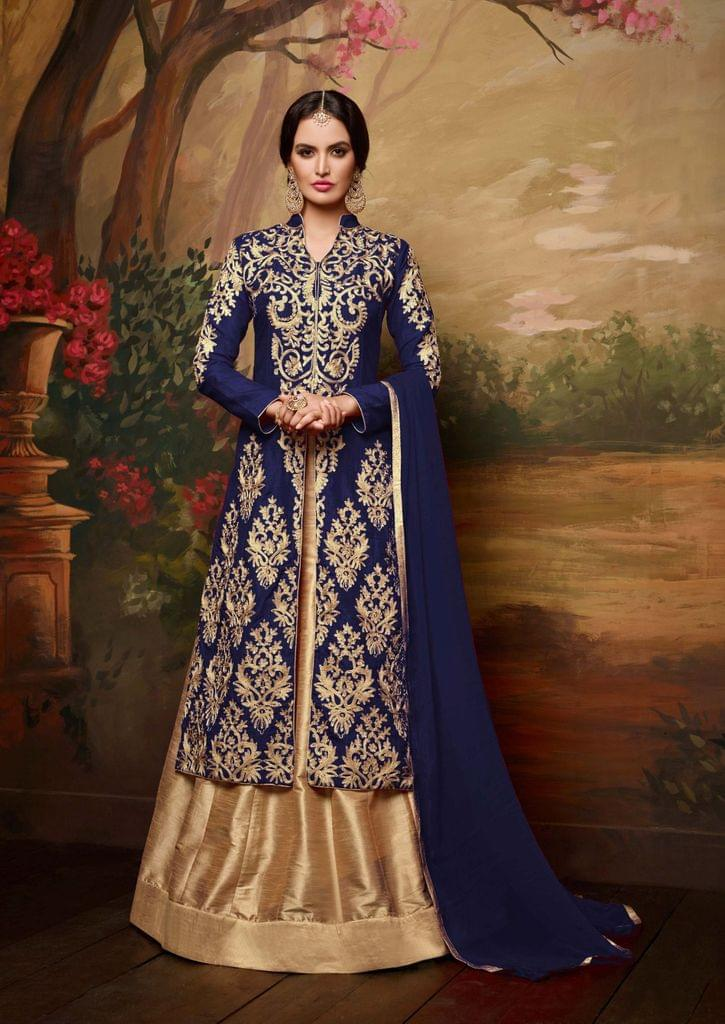Elegent Blue & Beige Color Banglori Silk Embroidered Suit
