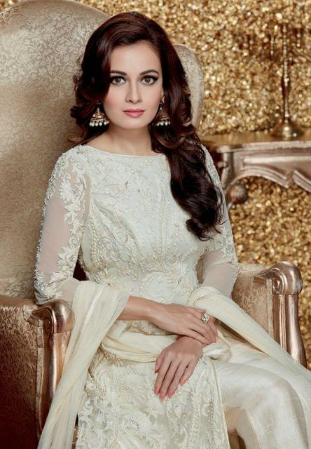 Elegent White Color Georgette Embroidered Suit
