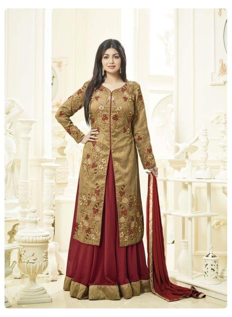Stunning Beige & Brown Color Embroidered Work Silk Suit