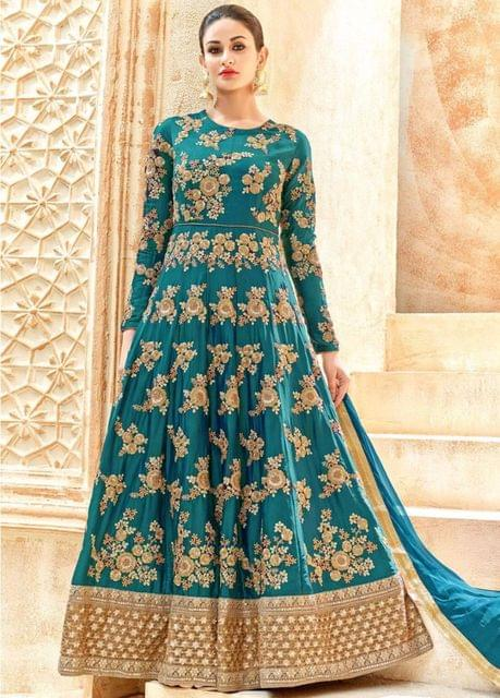 Good Looking Teal Green Heavy Shadow Anarkali Suit
