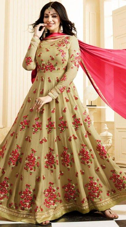 Charismatic  Beige Color Georgette Anarkali Suit
