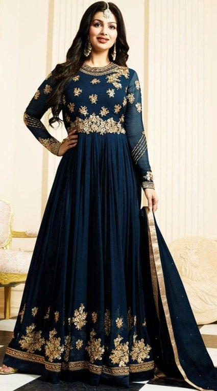 Decorous  Teal Blue Color Georgette Anarkali Suit