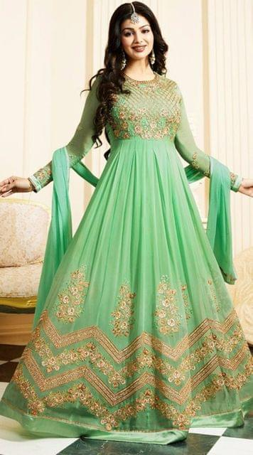 Attractive Teal Green color Georgette Bollywood Anarkali suit