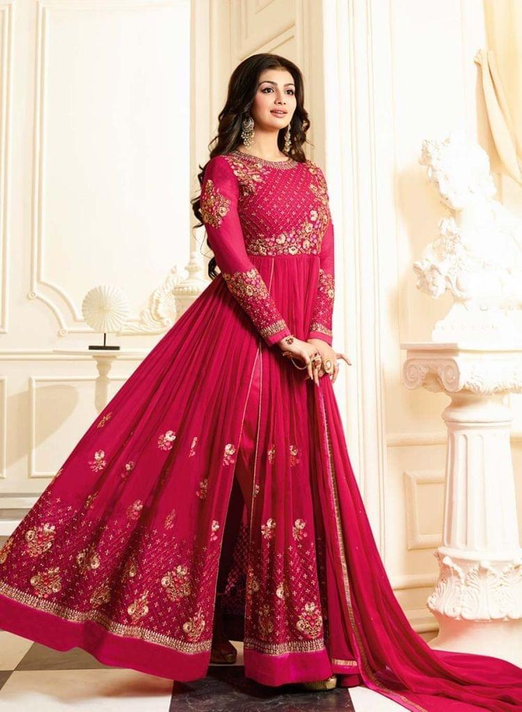 Beauteous Pink Heavy Georgette Anarkali Suit