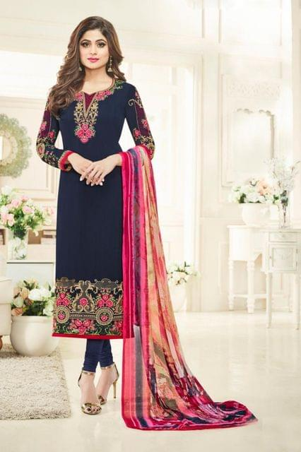 Beautifull Blue Color Georgette Embroidered Salwar Suit