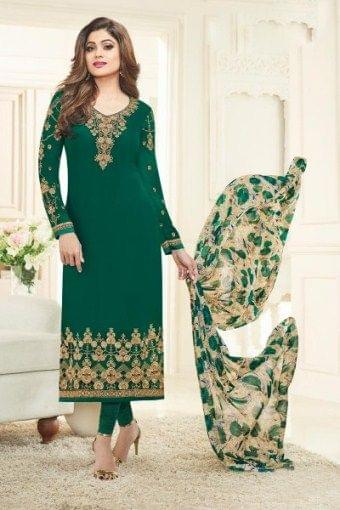 Beautifull Green Color Georgette Embroidered Salwar Suit