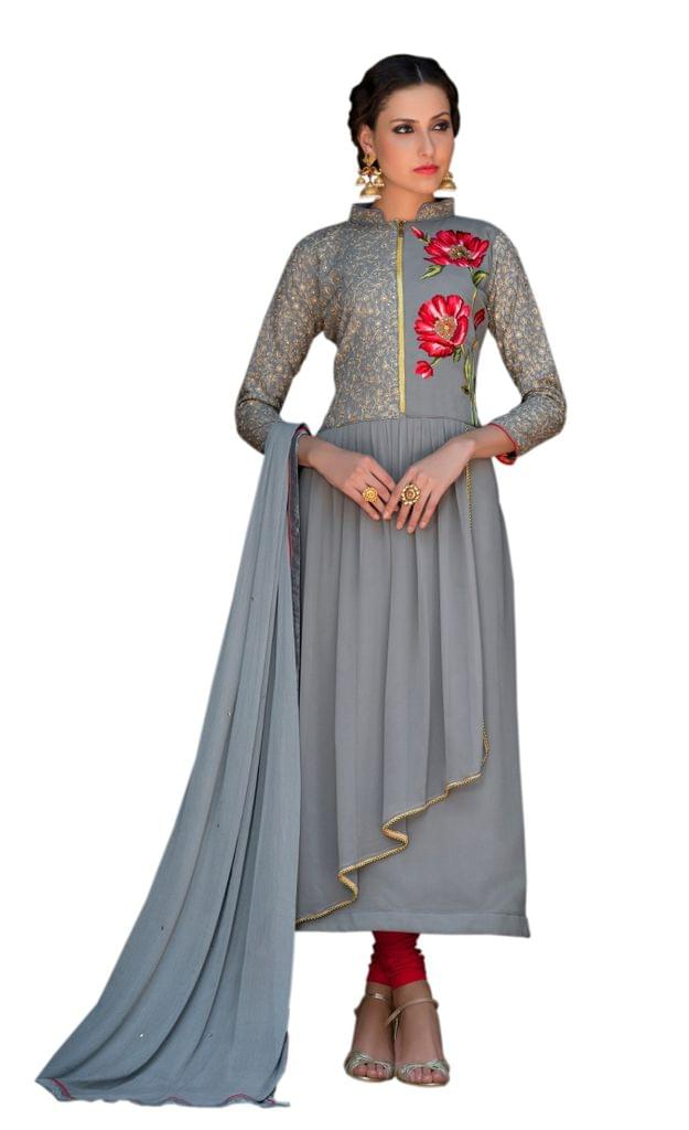 pleasing Light Grey Color Fancy Gown