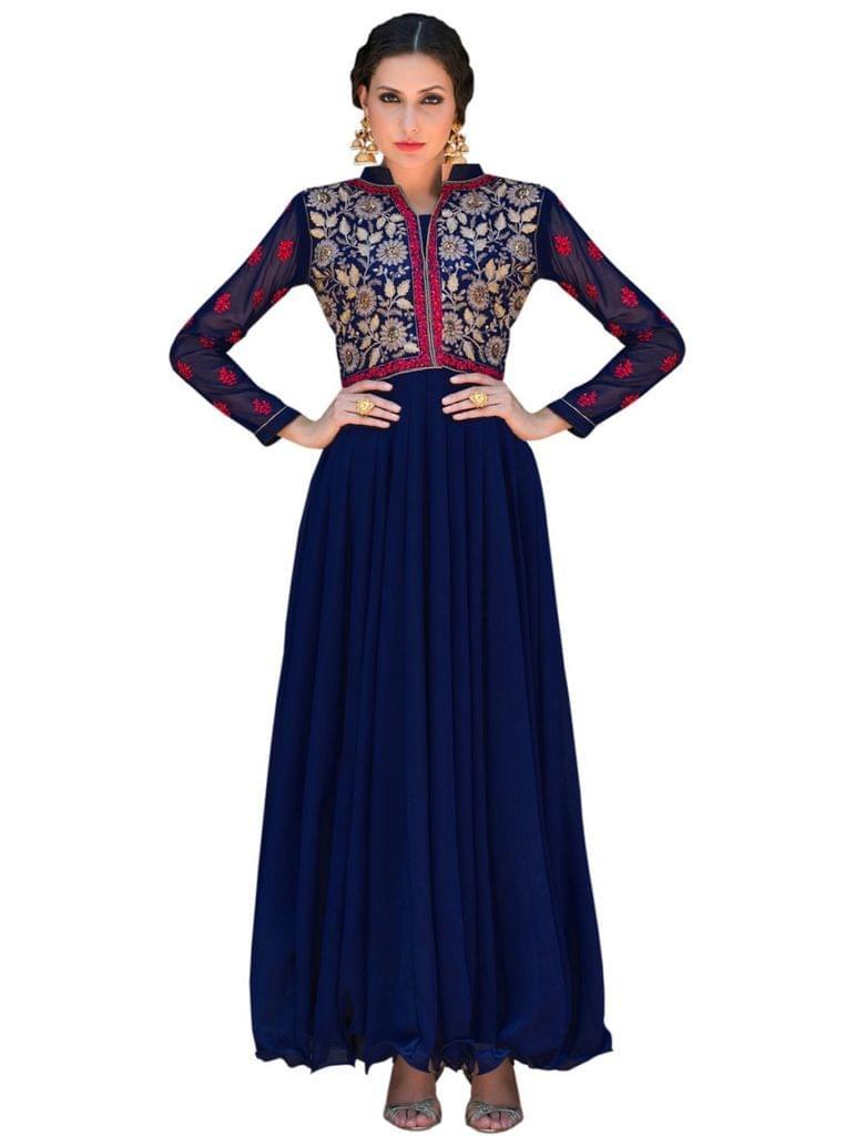 Designer Blue Color Georgette Fancy Gown
