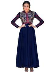 Designer Blue Color Georgette Fancy Gown