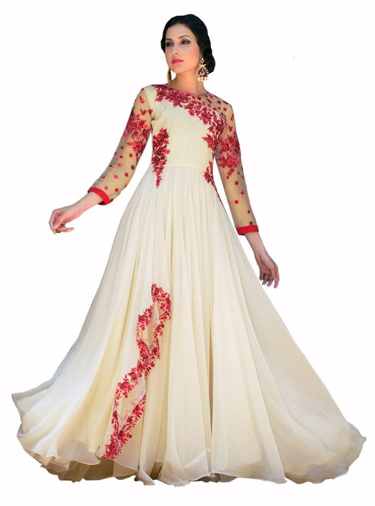 Designer White Embroidered Gorgeous Gown