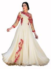 Desinger White Embroidered Gorgeous Gown