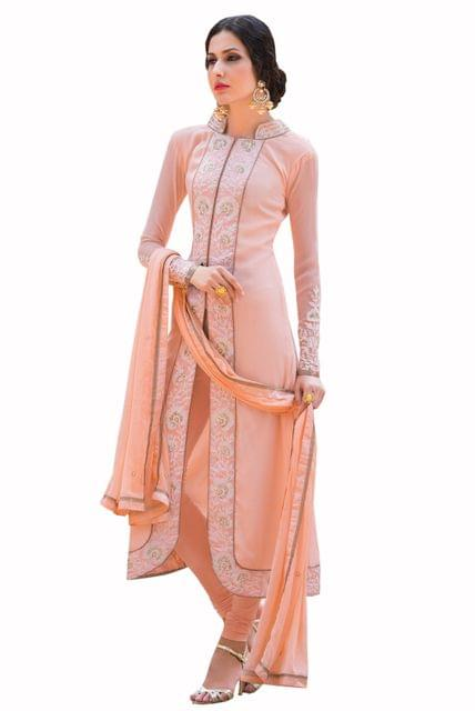 Ethnic Style Pretty Designer Georgette Peach Color suit