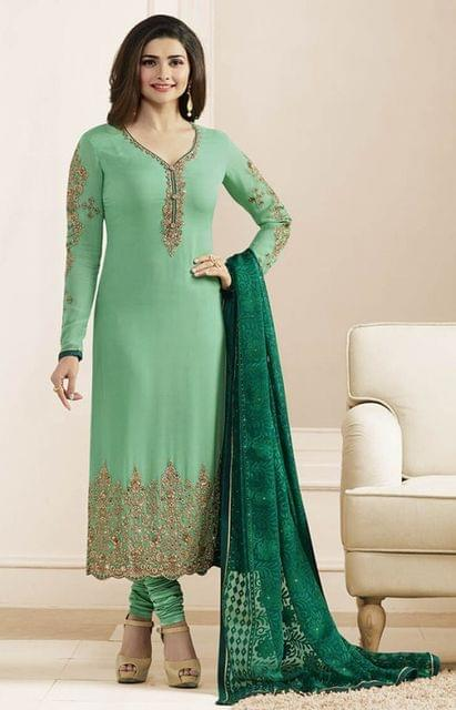 Green Georgette Semi-Sttiched Salwar Suit