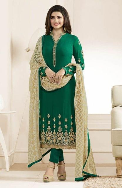 graceful Dark Green Color Designer Georgette Straight Suit