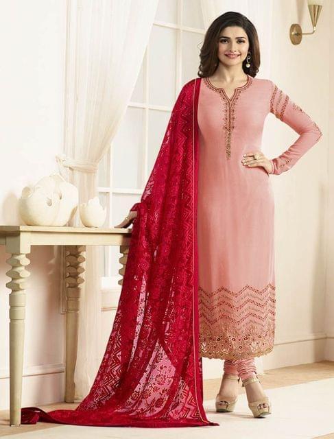 fashionable Pink Color Designer Georgette Straight Suit