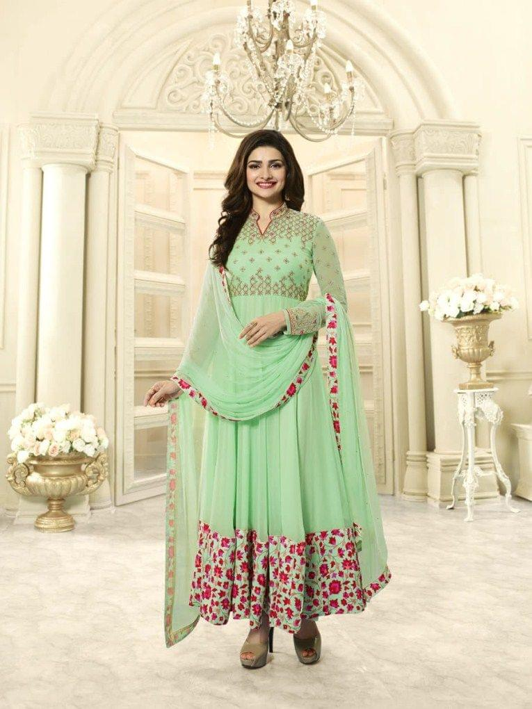 Stylish Designer Green Color Straight Suit