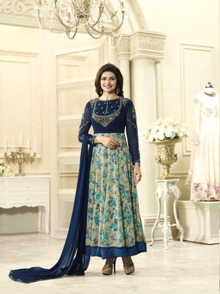 Good Looking Blue Desinger Straight Salwar Suit
