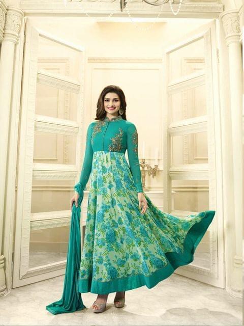 Stylish Designer Green Color Straight Suit
