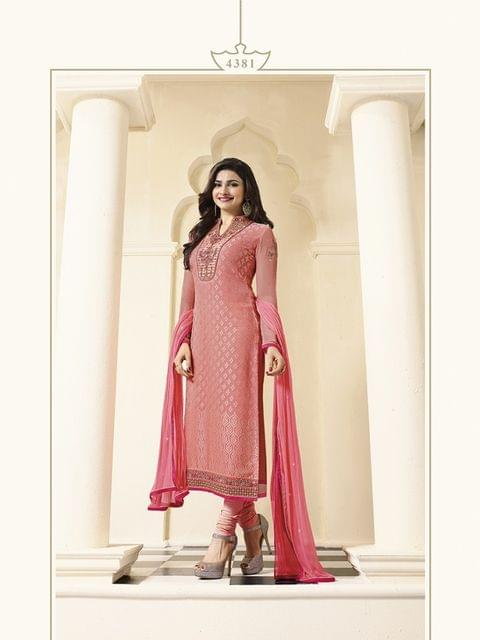 Charming Peach color Desinger Straight Salwar Suit