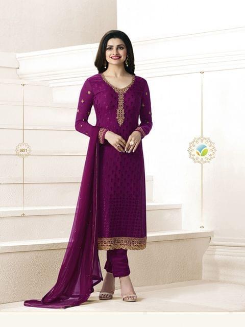 Maroon Color Semi-Sttiched Salwar Suit