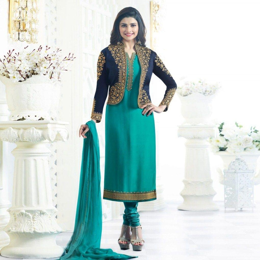 Firozi Jacket Style Embroidered Suit