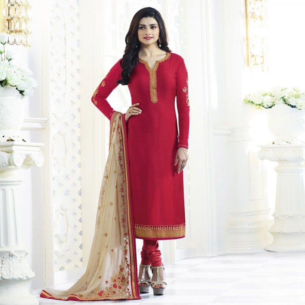 Red Partywear Georgette Suit