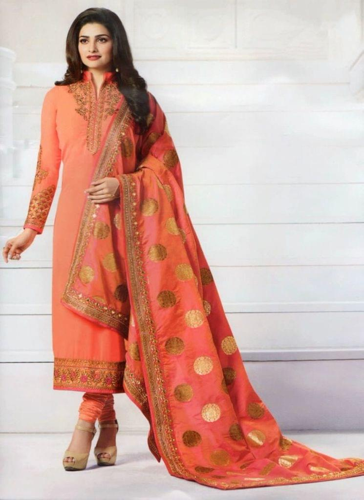 Peach Georgette Semi-Sttiched Salwar Suit