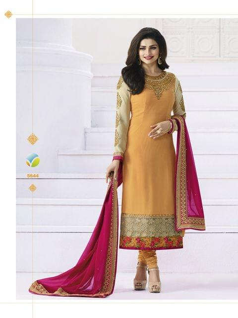 Orange Georgette Semi-Sttiched Salwar Suit