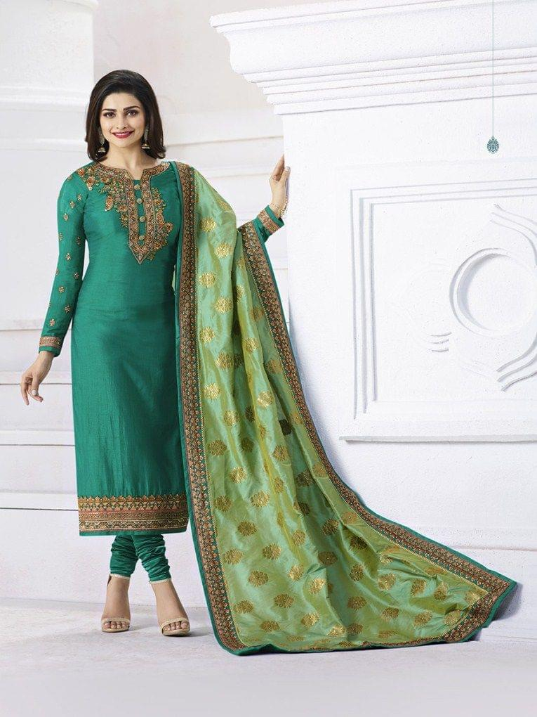 Trendy White Color  Staight Salwar Suit