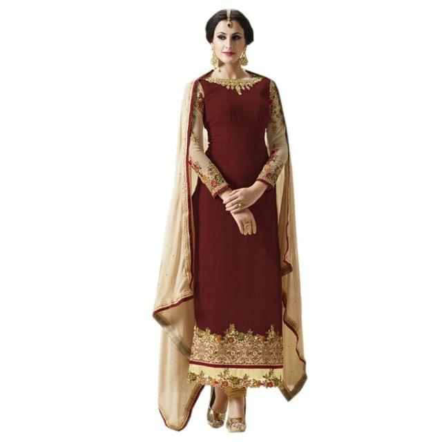 Charismatic  Brown Color Designer Straight Suit