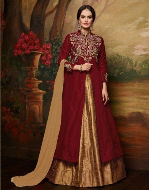 Maroon & Beige Color Lovely Indo Western Suit