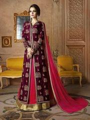 Ethnic Style Designer Maroon Color Raw Silk Semi- sttiched Suit