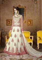Ethnic Style Fabulous White Color Georgette Embroidered Suit