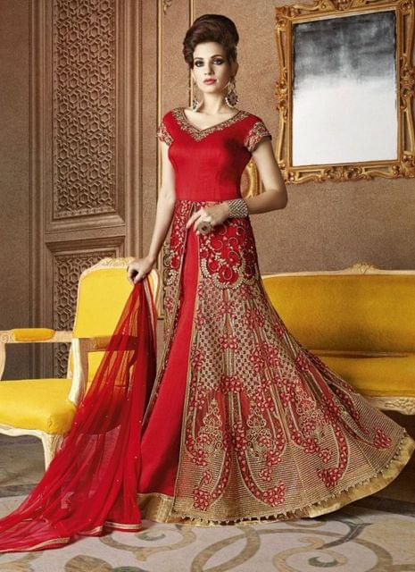 Ethnic Style Raw Silk Red Color Embroidered Floor length Suit