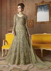 Ethnic Style Stunning Designer Beige Color Net Anarkali Suit